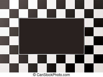 Black and white checkered picture frame with silver bevel