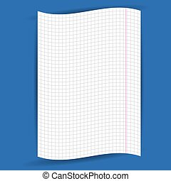 checkered notebook paper on  blue background. vector