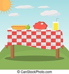 checkered, nourriture pique-nique, table rouge, paysage