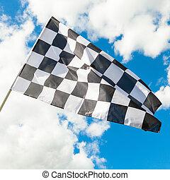 checkered, nuvens, -, bandeira acenando, limpo, fundo, vento