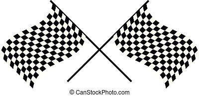 checkered, ondeggiare, bandiere, attraversato, flags., da corsa, chequered