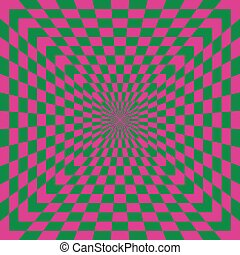 A classic optical illusion in pink and green.