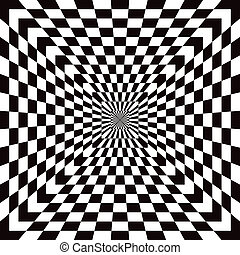 Classic checkered optical illusion pattern in black and white repeats seamlessly.