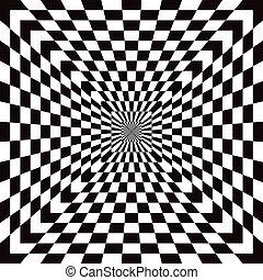 Checkered Optical Illusion - Classic checkered optical...