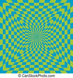 Checkered Optical Illusion in Blue and Green