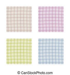 Checkered pattern set, brown, purple, green and blue gingham pattern