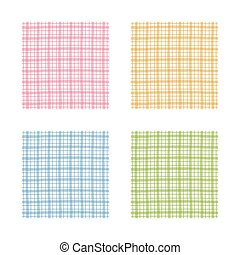 Checkered pattern set, pink, orange, green and blue gingham pattern
