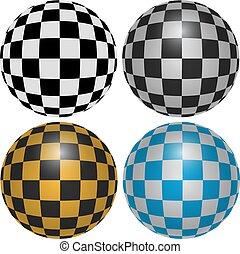 Checkered Pattern Spheres Design Elements
