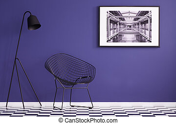 checkered, pavimento, viola, lampada, moderno, parete, nero, sedia, pittura