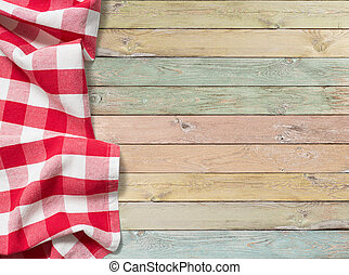 checkered, picknick, kleurrijke, hout, tafel, tafelkleed, rood
