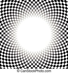 checkered, résumé, élément, radial, surface., circulaire