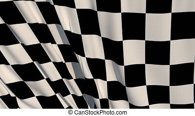 Checkered Race Flag Check Flag wavy silk fabric fluttering ...