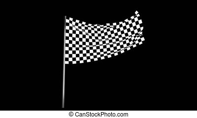 Checkered race flag waving with an alpha channel 4k