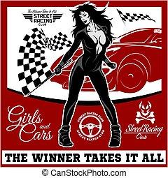 checkered, racing., auto correr, rua, motor, flag., excitado, menina, desporto, começar