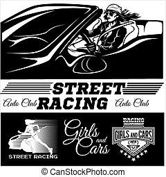 checkered, racing., auto correr, rua, motor, flag., menina, desporto, começar