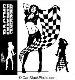 checkered, racing., começar, meninas, rua, desporto, motor, automático, excitado, flags., correndo