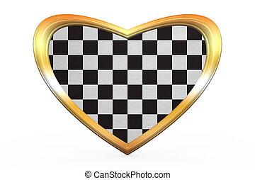 Checkered racing flag in heart shape, golden frame