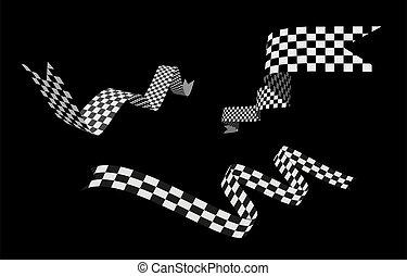Checkered racing flag, ribbon. Vector set illustration