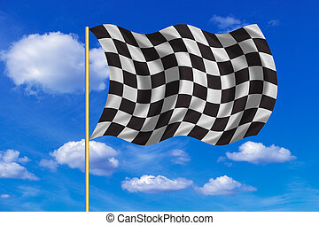 Checkered racing flag wavy on blue sky background