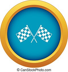 Checkered racing flags icon blue vector isolated