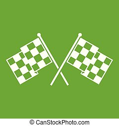 Checkered racing flags icon green