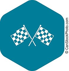 Checkered racing flags icon, simple style