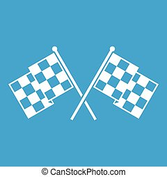 Checkered racing flags icon white