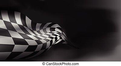 checkered, raum, flag., eins, fahne, rennen, hintergrund,...