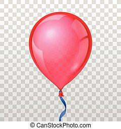 checkered, realístico, balloon, ilustração, experiência., vetorial, transparente, vermelho