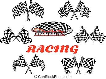 checkered, ritterwappen, flaggen, schwarz, weißes, rennsport