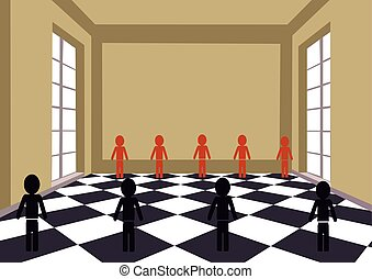 Checkered room with black and red