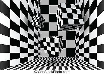 checkered, sala, cubos