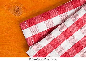 checkered, serviette, auf, holztisch