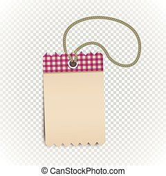 Checkered shopping tag with rope on transparent background. Retro style template