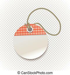 Checkered shopping tag with rope on transparent background. Retro style template for a text