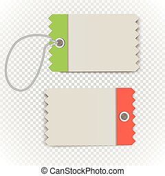 Checkered shopping tag with rope on transparent background