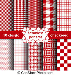 Checkered simple red fabric seamless pattern.