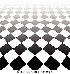 checkered, surface, arrière-plan., disparaître, vecteur, perspective., surface., 3d