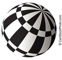 checkered, surface, sphère, vecteur, white., art.