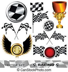 Racing checkered symbol set, vector illustration