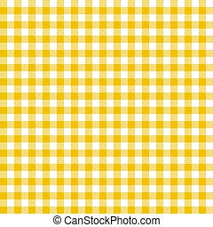 checkered, tafelkleden, model, -, gele, eindeloos