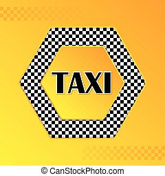 Checkered taxi background with text in center