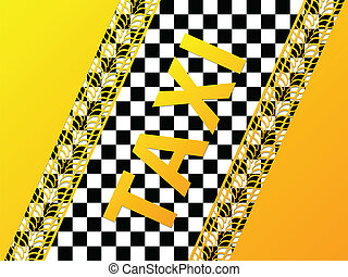 Checkered taxi background with tire treads