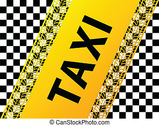 Checkered taxi background with tire treads and shadows