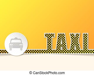 Checkered taxi text design with taxi badge