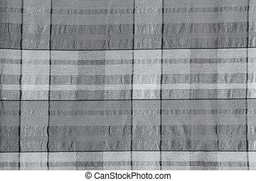 checkered, texture., achtergrond, katoen, grijs, weefsel