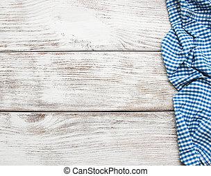 checkered, tovagliolo, legno, fondo