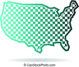 Checkered United States Map Logo Illustration