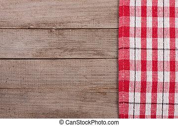 checkered, vieux, espace, sommet bois, text., table, nappe, copie, ton, rouges, vue