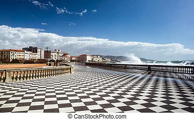 checkered, vloer, in, stad, plein